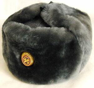 Russian Army Officer Grey Mouton Sheepskin Fur Ushanka Hat Gold Star Badge L-XL