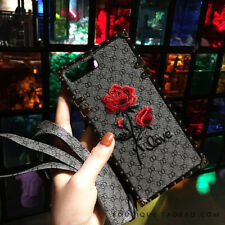 Luxury Embroidery Rose Flower Leather Strap case Cover for iPhone X 8 7 6S Plus