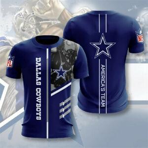 Dallas Cowboys Sports T-Shirt Summer Casual Short Sleeve Tee Tops Team Apparel