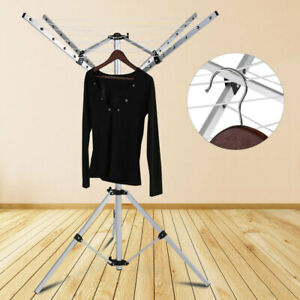 4 Arms Rotary Portable Camping Clothes Airer Dryer Washing Line Drying Rack UK