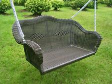 Maui Resin Wicker/ Steel Hanging Loveseat Swing - Antique Black (Noyer)