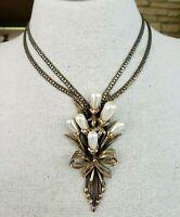 Vtg Ravana Faux Pearl Waterfall Gold Tone Choker Necklace C Link & Foxtail Chain