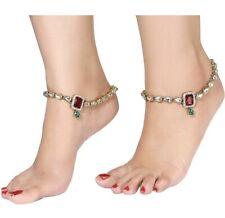 Bridal Ethnic Gold Plated Traditional Kundan Stone Studded Antique Anklet Set