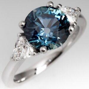 3Ct Round Cut London Blue Topaz Synt Diamond Art Deco Ring White Gold Fns Silver