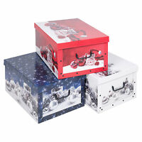 Large 45L Storage Boxes & Lids Christmas Xmas Storage Box Baubles Presents Gifts