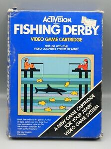 Original Vintage 1980 Atari 2600 FISHING DERBY w/ Box & Manual ACTIVISION Game !