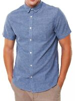 ONLY & SONS Short Sleeve Tinso Shirt Mens Slim Fit Casual Smart Shirts Blue