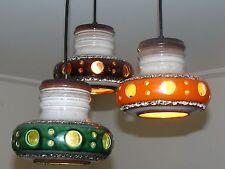 Mid century modern ceramic Dutch Herda pendant lamp, Fat Lava, Panton Eames era