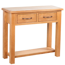 Oak Console Table 2 Drawers Hallway Storage Living Room Solid Wood Sideboard