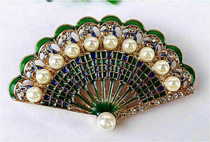 52x32x10mm Carved Green Fan Alloy Inlay Imitation Pearl Pendant Brooch BV2495