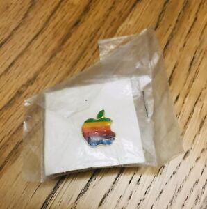 Apple Macintosh Computer Rainbow Logo Lapel Pin Pinback Vintage 80s