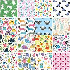 20 LARGE FABRIC SQUARES SEWING MATERIAL BUNDLE NURSERY GIRL BOY NOVELTY ANIMALS