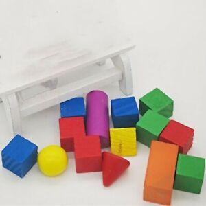14Pcs/Set 3D Shapes Geometric Solids Wooden Math Games Toys