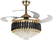 "42"" Crystal Ceiling Fan Light Remote Control Chandelier Retractable Fandelier"