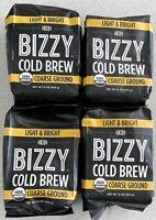 4 pack Bizzy Organic Cold Brew Coarse Ground Coffee Light & Bright Blend 12 Oz