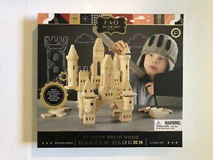 FAO Schwarz Medieval Knights & Princesses Wooden Castle Building Blocks 75 Piece