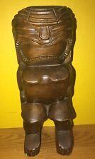 Vintage Hand Carved Koa Wood Tiki Statue Idol God Hawaii Bar Figure