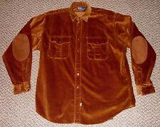 POLO RALPH LAUREN Brown Cotton Corduroy & Suede Patches Heavy Shirt Size XL Mens