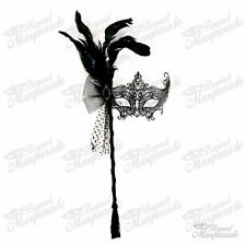 Handheld Stick Mask, Women Black Laser Cut Metal Venetian Masquerade Mask