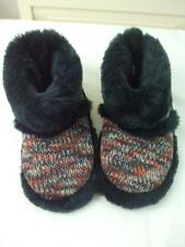 Sam & Libby Sweater Knit w Faux Fur Booties Indoor Shoes Sippers Rubber Sz 6-8 B