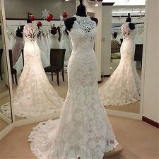 White Ivory Mermaid Lace Halter Sleeveless Train Wedding Gown Wedding Dress