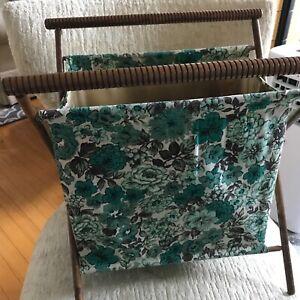 Vtg Knitting Yarn Cloth Basket/bag Folding Wood Frame Basket Green Floral