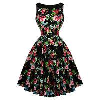 Hearts & Roses London Rose Black Floral Vintage 1950s Party Pinup Dress UK