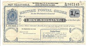British Postal Order, George V, One Shilling, 16 FEB, 1923!