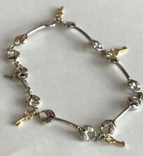 14k white & yellow Gold Ankle Bracelet Anklet chain Hearts Lock Key 10 inches