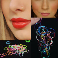40X Small Thin Surgical Steel Nose Ring Nose Piercing Lip Hoop Ring Stud Jewelry
