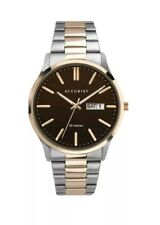 Accurist Men's Stainless Steel Japanese Quartz Watch Chocolate Dial Day & Date