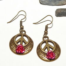 Drop Dangle Girls Hippie, Boho Gift Peace with Pink Rose Earrings, Symbol Sign