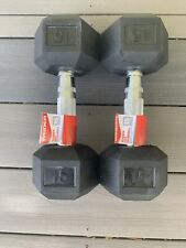 Weider Hex Rubber 15 lb Pound Set of Two Dumbbell Weights 30 Lb total