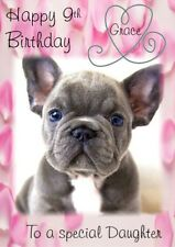 personalised birthday card  blue French bull dog any name/age/relation