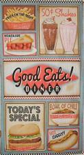 "Good Eats Diner Retro Hamburger Shake Fries Pie Food SPX Fabric 24"" Panel"