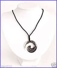 Mother of pearl with black cotton cord necklace