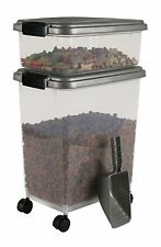 New Airtight Pet Food Storage Combo Dog Treat Container Organizer Holder