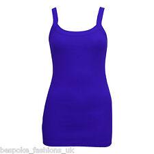 Womens Plain Bright Stretchy Ladies Ribbed Vest Top T Shirt Rib Strap Sizes 8-14 UK 8-10 Royal Blue