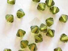 20 Olivine Swarovski Crystal Beads Bicone 5328 6mm