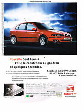 PUBLICITE ADVERTISING  2000   SEAT LEON 4  1. 20 VT 4 sport