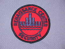 1 RENAISSANCE CENTER SECURITY SEW-ON PATCH! DETROIT, MICHIGAN  BLUE ON RED! NEW!