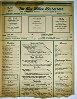"1953 The Blue Willow Restaurant Menu Minnesota Ave, Kansas City 10"" x 13"" 1 Side"