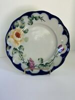 Tohina E-OH Plate Hand Painted Nippon Cobalt  Blue Pink Yellow Flowers