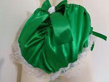 SISSY FRILLY SATIN GREEN GATHERED PANTIES BLOOMER DRESS UP MAID CROSSDRESSER
