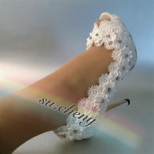 "3"" 4"" Lace white light ivory open toe satin flower Wedding shoes Bride size 5-11"