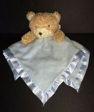 Family Dollar Tan blue teddy Bear Baby Security Blanket Rattle velour, satin