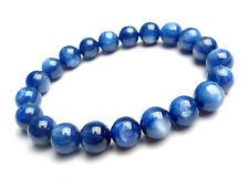 Natural Blue Kyanite Cat Eye Crystal Beads Stretch Bracelet 9mm AAA