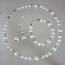 Vintage white pearl necklace bracelet earrings wedding bridesmaid jewellery set