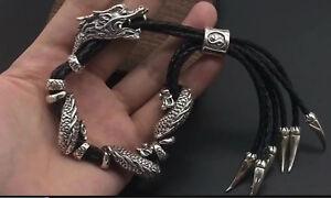 925 Sterling Silver Genuine Leather Mens Dragon Biker Bangle Adjustable Bracelet