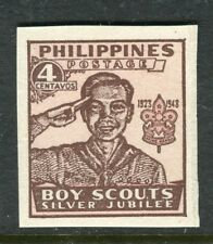 PHILIPPINES;  1948 early Boy Scouts Imperf issue Mint MNH Unmounted 4c.